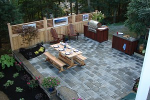 Fifthroom.com's Adirondack Chairs and Treated Pine Trestle Picnic Table make this space a relaxing oasis.
