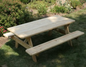 Fifthroom's Treated Pine Picnic Table with Attached Benches.