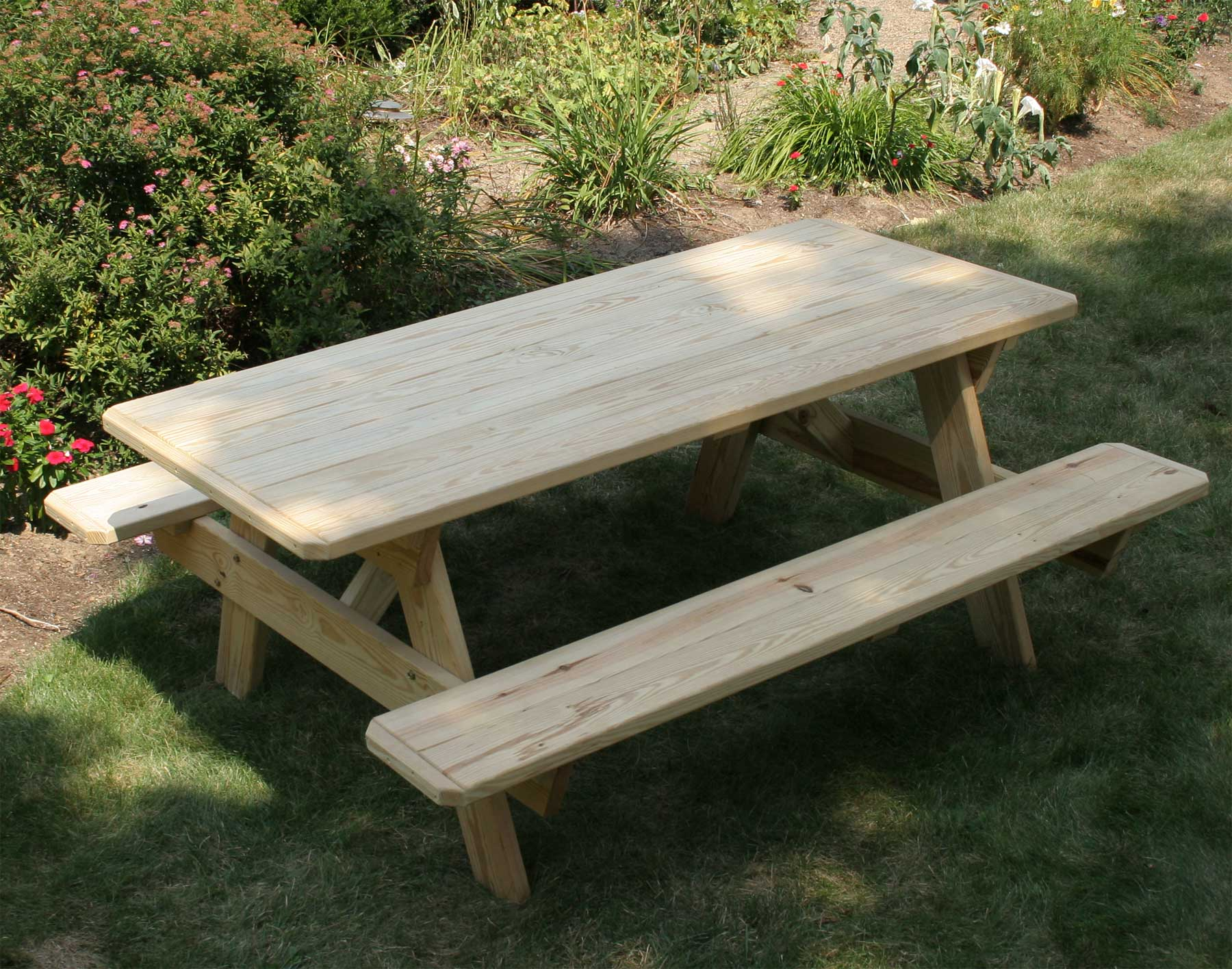 Fifthroomu0027s Treated Pine Picnic Table With Attached Benches.