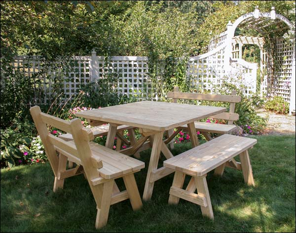 Treated Pine Wide Picnic Table With 4 Benches