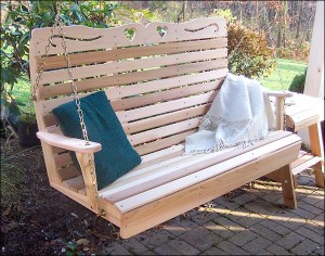 Red cedar porch swing