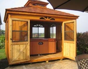 cabana in a backyard