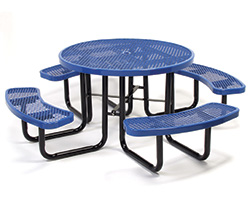 Blue metal round picnic table