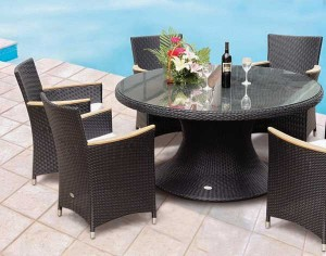 60-Wicker Black Dining Table