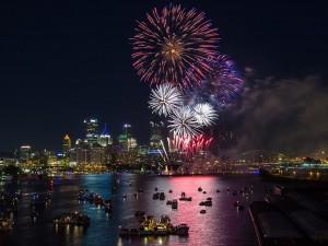 July Fourth fireworks display shown.