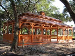 Wooden gazebo with the Hurricane Package