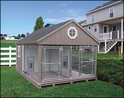 Large, screened-in dog house